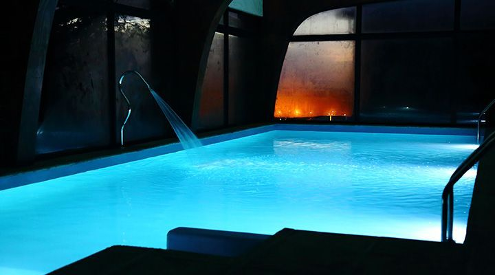 heated swimming pool and spa cabanas Patagonia coast pichilemu