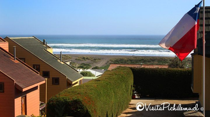 entrance to the beach cabanas large stone Cahuil pichilemu