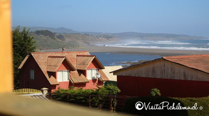 view from the terrace large stone huts Cahuil pichilemu