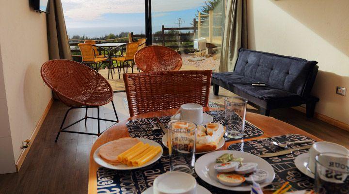 desayuno con vista al mar cabanas costa patagonia pichilemu