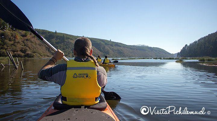 group kayaking lagoon Cahuil
