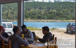 terrace overlooking the lagoon restaurant Cahuil the salt